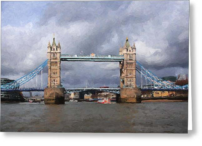 Paint Photograph Greeting Cards - Londons Tower Bridge Greeting Card by Martin  Fry