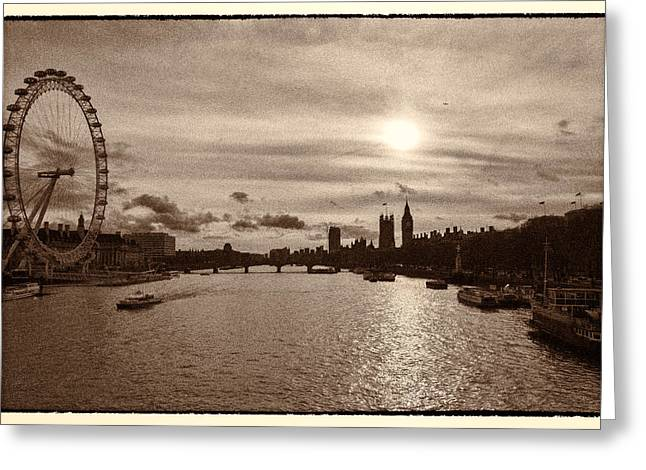 London Eye River Cruise Greeting Cards - Londonscape Greeting Card by Lenny Carter