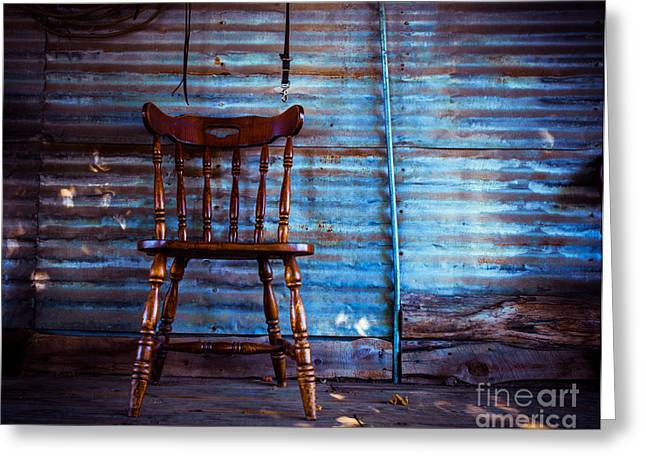 Windsor Chair Greeting Cards - Lone Barn Chair Greeting Card by Sonja Quintero