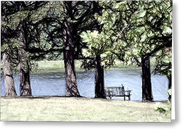 Lake Tapestries - Textiles Greeting Cards - Lone Bench by Lake Nevin Greeting Card by Thia Stover