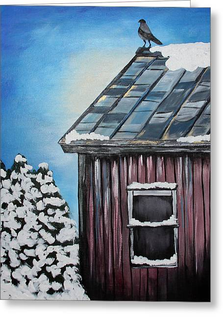 Tin Roof Greeting Cards - Lone Bird Greeting Card by Katrina LeAndro