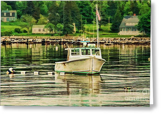 Maine Spring Greeting Cards - Lone Boat Greeting Card by Darren Fisher