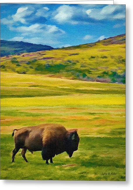 Wildlife Refuge. Greeting Cards - Lone Buffalo Greeting Card by Jeff Kolker