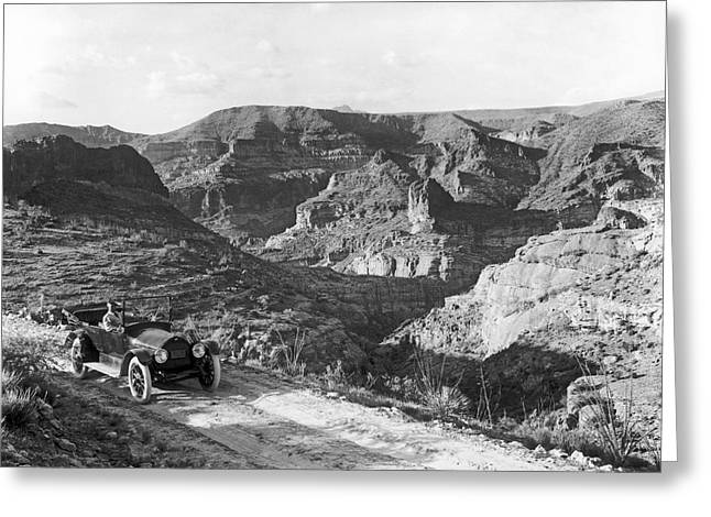 Fish Creek Greeting Cards - Lone Car In Fish Creek Canyon Greeting Card by Underwood Archives
