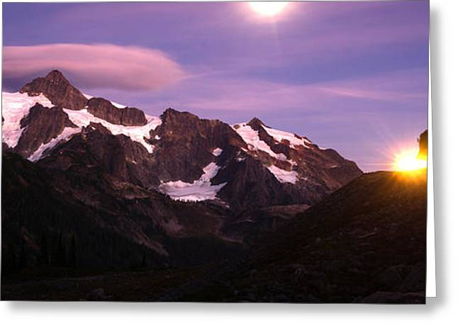 Roadway Greeting Cards - Lone Car Passes on Roadway Full Moon Mt Shuksan Greeting Card by Christopher Boswell