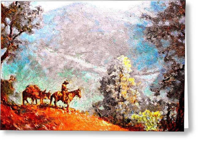 Lone Horse Paintings Greeting Cards - Lone Cowboy on Horse Greeting Card by Henry Goode