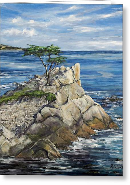 Pebbles Paintings Greeting Cards - Lone Cypress a Portrait Greeting Card by Lisa Reinhardt