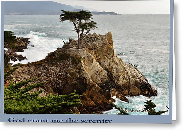 California Central Coast Greeting Cards - Lone Cypress Serenity Prayer Greeting Card by Barbara Snyder