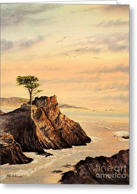 Pacific Grove Beach Greeting Cards - Lone Cypress Tree Pebble Beach Greeting Card by Bill Holkham