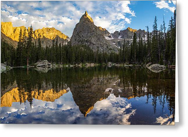 Indian Peaks Greeting Cards - Lone Eagle Peak and Mirror Lake Greeting Card by Aaron Spong