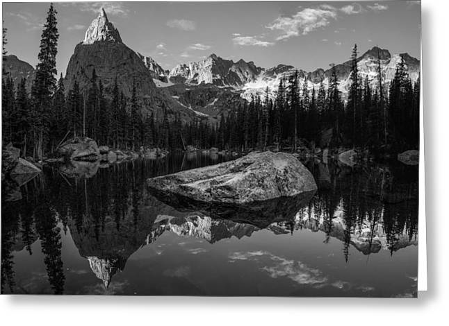 Indian Peaks Greeting Cards - Lone Eagle Peak Black and White Greeting Card by Aaron Spong