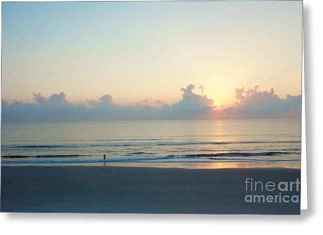 Surf Fishing Greeting Cards - Lone Fisherman Greeting Card by Kay Pickens