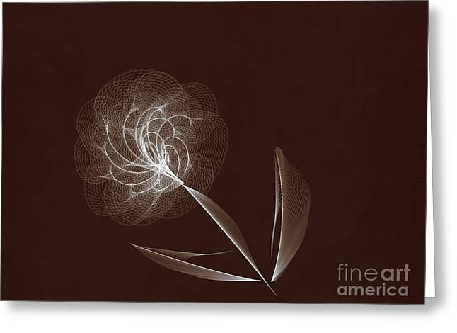 Computer Generated Flower Greeting Cards - Lone Flower Greeting Card by Tom Gari Gallery-Three-Photography