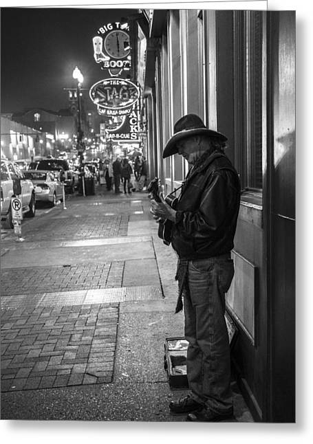 Nashville Tennessee Greeting Cards - Lone Guitar Player in Nashville  Greeting Card by John McGraw