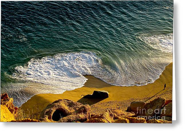 Lone Hiker At Sunset On Secluded Beach At Cabo San Lucas Greeting Card by Sean Griffin