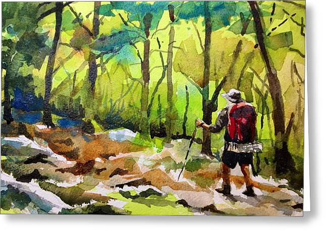 Green Foliage Greeting Cards - Lone Hiker Greeting Card by Spencer Meagher