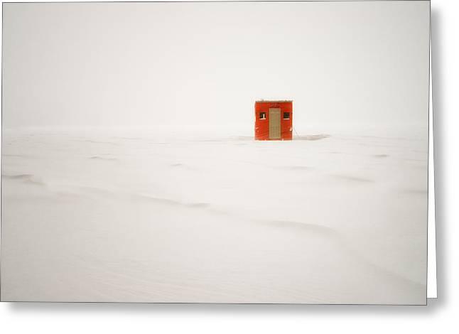 Lone Ice Shanty Greeting Card by Darylann Leonard Photography