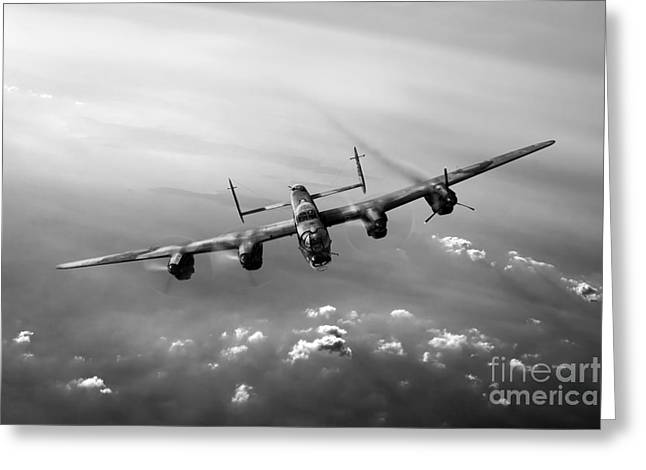 Lame Greeting Cards - Lone Lancaster black and white version Greeting Card by Gary Eason