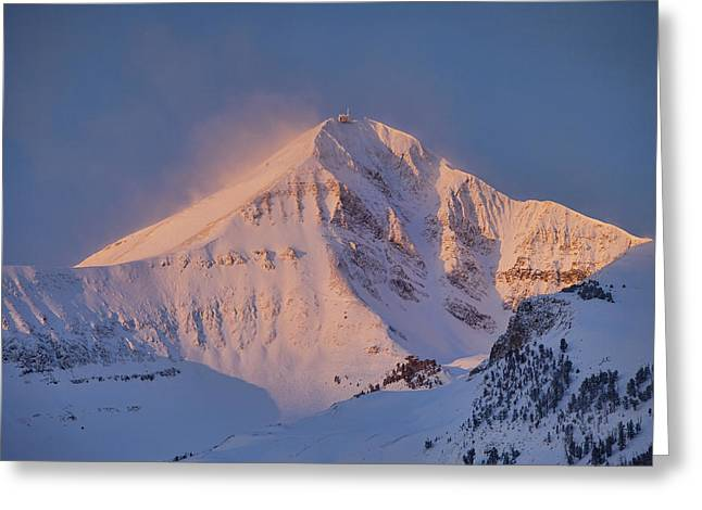 Blowing Snow Greeting Cards - Lone Peak Alpenglow Greeting Card by Mark Harrington