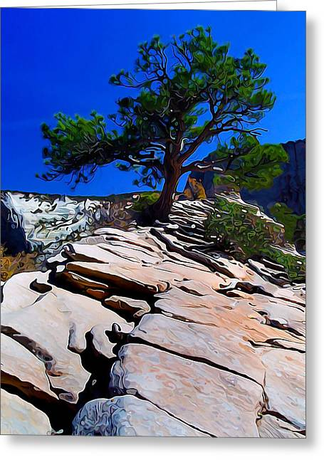 Angel Blues Greeting Cards - Lone Pine at Zion Greeting Card by Bill Caldwell -        ABeautifulSky Photography