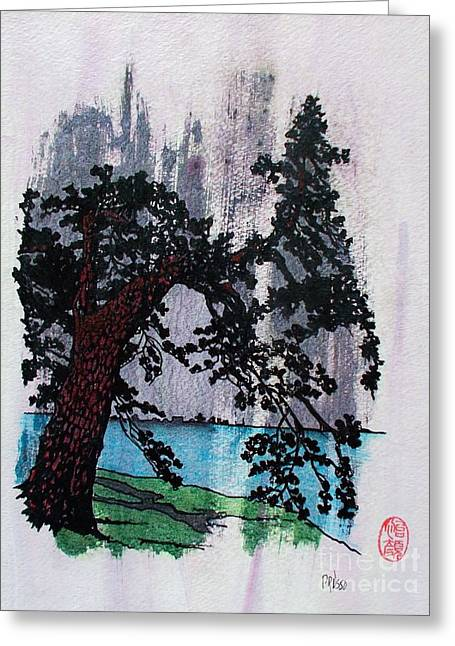 Summer Squall Greeting Cards - Lone Pine Tree in Summer Squall Greeting Card by Roberto Prusso