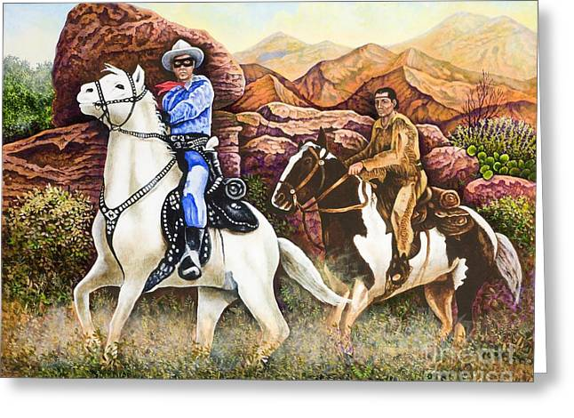 Lone Horse Greeting Cards - Lone Ranger and Tonto Ride Again Greeting Card by Michael Frank