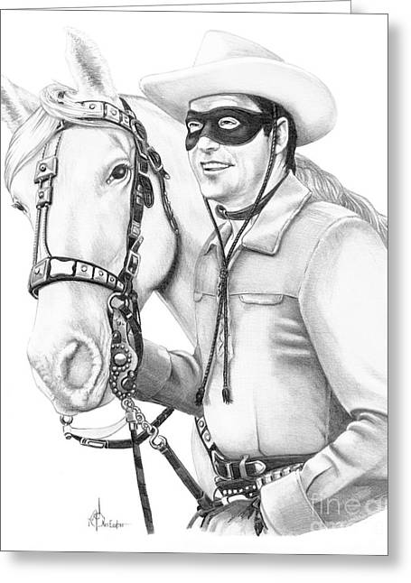 Western Pencil Drawings Greeting Cards - Lone Ranger Greeting Card by Murphy Elliott