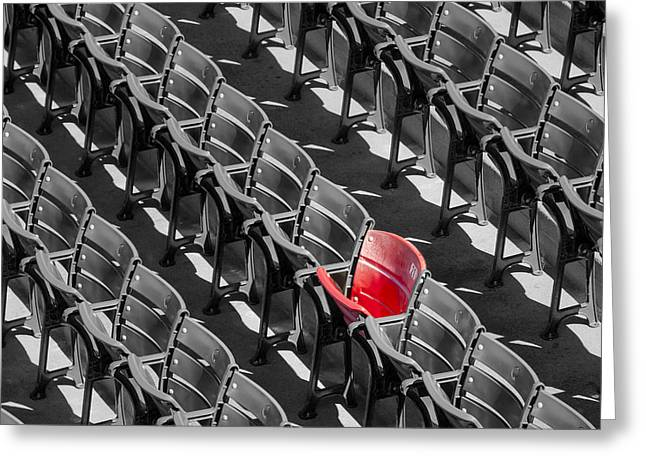 Baseball Stadiums Greeting Cards - Lone Red Number 21 Fenway Park BW Greeting Card by Susan Candelario