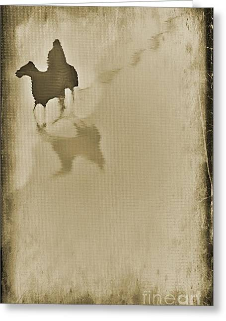 Lone Horse Digital Greeting Cards - Lone Rider Composition Greeting Card by John Malone