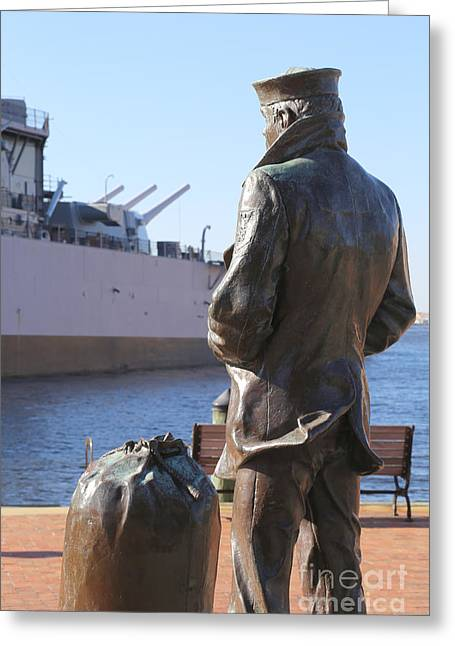 Crackerjack Greeting Cards - Lone Sailor in color Greeting Card by Dwight Cook