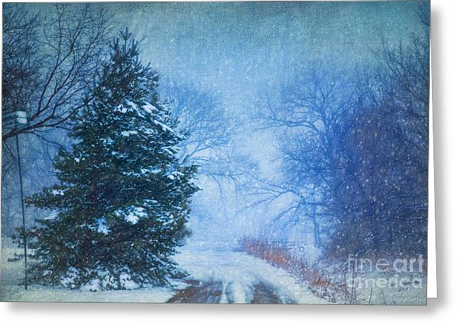 Winter Road Scenes Digital Greeting Cards - Lone Snowy Lane Greeting Card by Anna Surface
