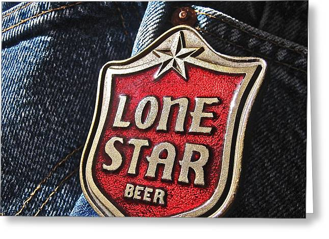 Levi Greeting Cards - Lone Star Beer Greeting Card by Bill Owen