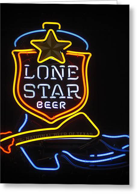 Stockyards Greeting Cards - Lone Star Beer Greeting Card by Mountain Dreams