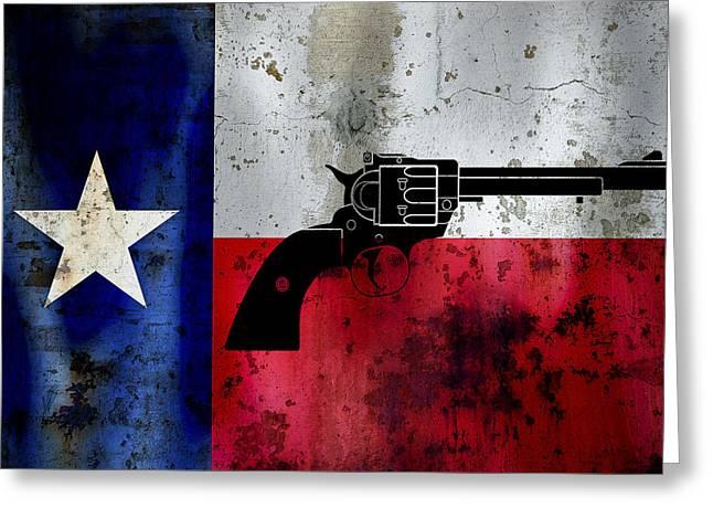 Galveston Digital Art Greeting Cards - Lone Star Revolver Greeting Card by Daniel Hagerman