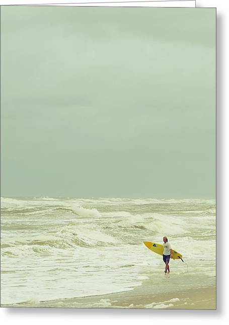 Storm Lovers Art Greeting Cards - Lone Surfer Greeting Card by Laura  Fasulo