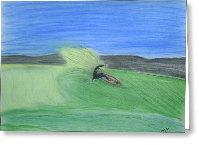 Horizon Pastels Greeting Cards - Lone Surfer Greeting Card by Ray Ratzlaff