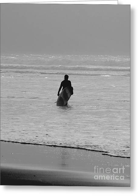 Surfer Art Greeting Cards - Lone Surfer Greeting Card by Terri  Waters