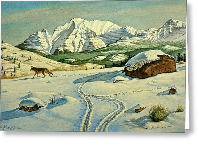 Wildlife Landscape Paintings Greeting Cards - Lone Tracker Greeting Card by Paul Krapf