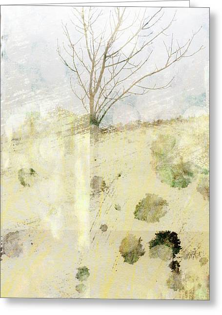 Pale Colors Greeting Cards - Lone Tree Abtract art Greeting Card by Ann Powell