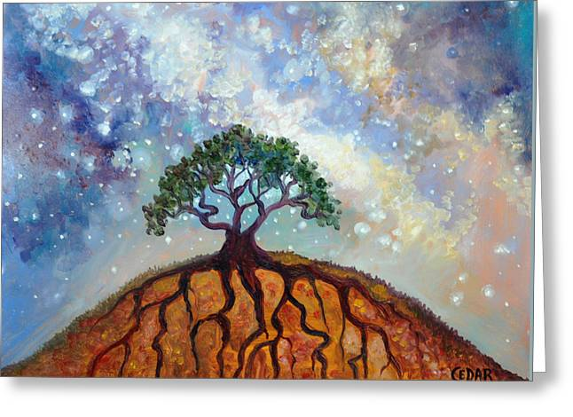 Life-cosmic Dance Greeting Cards - Lone Tree and Milky Way Greeting Card by Cedar Lee