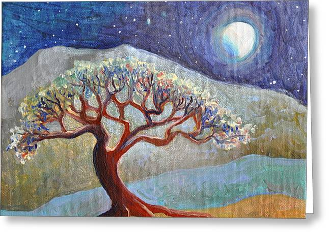 Lone Tree At Moonrise Greeting Card by Cedar Lee