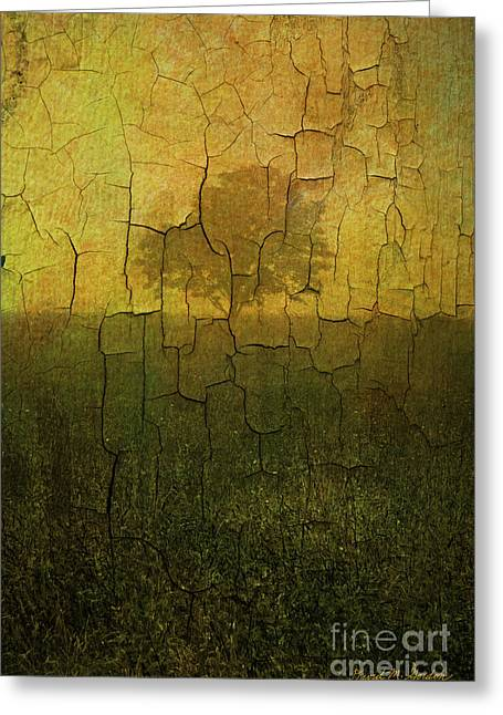 Chromatic Greeting Cards - Lone Tree in Meadow -Textured Greeting Card by David Gordon