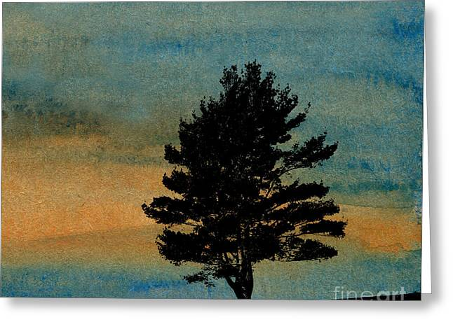 Gloaming Mixed Media Greeting Cards - Lone Tree Greeting Card by R Kyllo