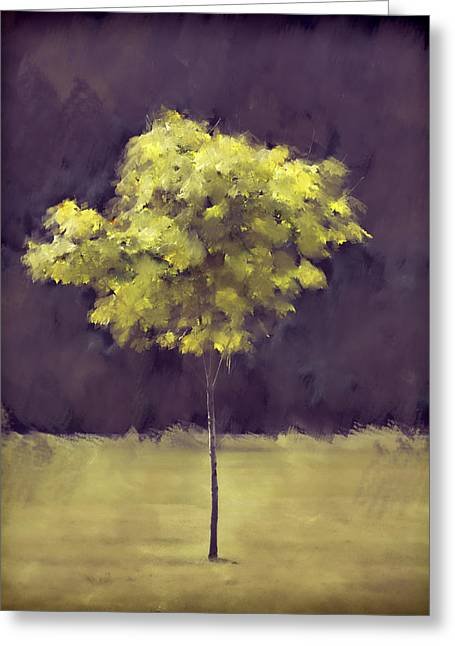 Yellow Trees Greeting Cards - Lone Tree Willamette Valley Oregon Greeting Card by Carol Leigh