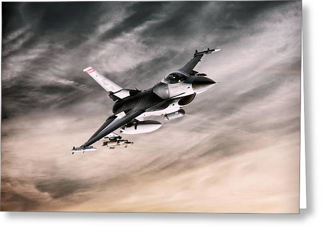 Jet Airplane Greeting Cards - Lone Viper Greeting Card by Peter Chilelli