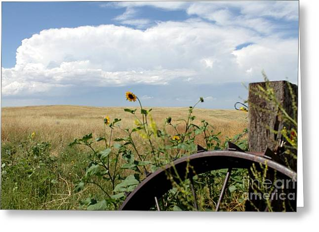 Thunderstorm Greeting Cards - Lone Wheel Greeting Card by Josh Alecci