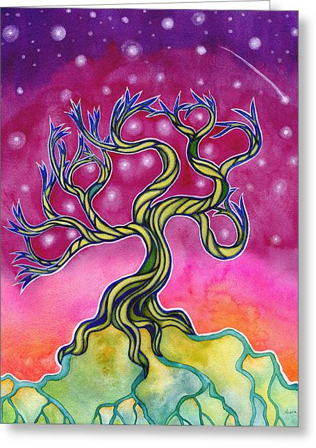 Tree Roots Paintings Greeting Cards - Lone Witness Greeting Card by Aura Lesnjak