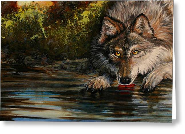 Wolf Creek Paintings Greeting Cards - Lone wolf Greeting Card by Beth Gramith