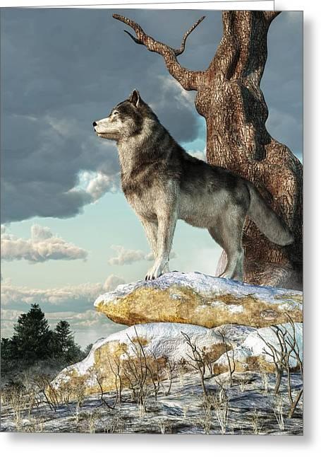 Individualistic Greeting Cards - Lone Wolf Greeting Card by Daniel Eskridge