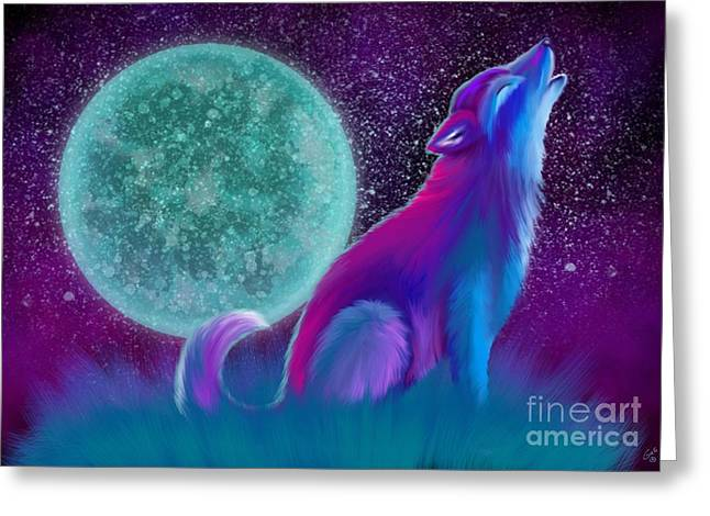 Wolf Moon Greeting Cards - Lone Wolf Howling Greeting Card by Nick Gustafson
